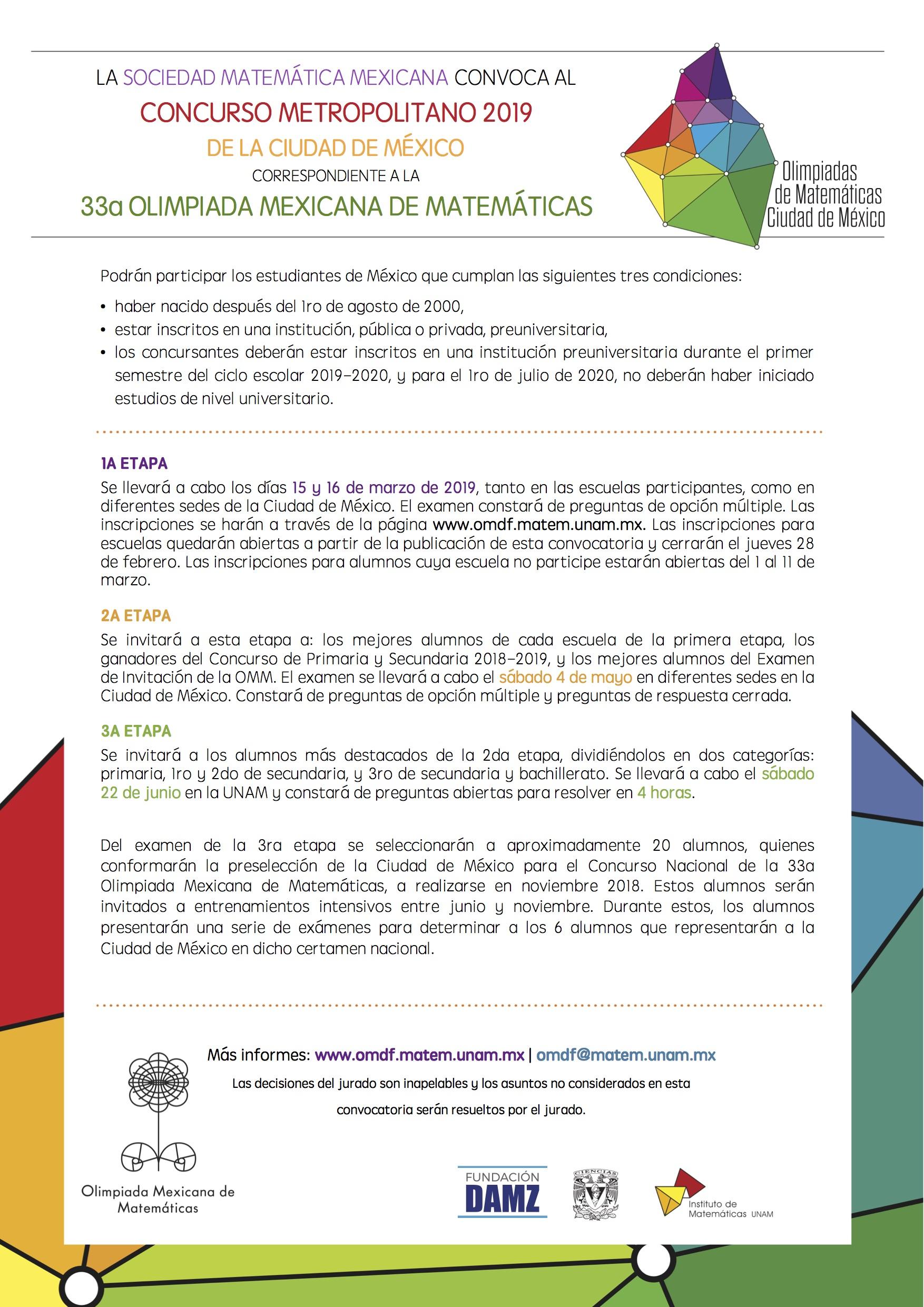 Convocatoria Concurso Metropolitano 2019